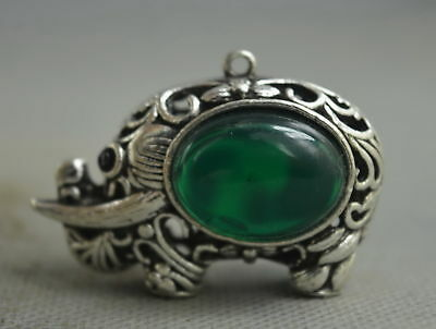 Collection Handwork Decor Miao Silver Carve Elephant Inlay Agate Lucky Pendant