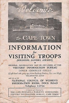 South Africa, Wwii, Capetown, Information For Visiting Troops With A Map