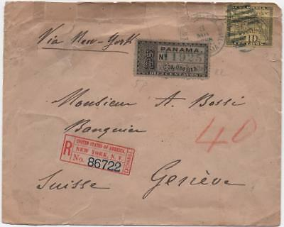 COLOMBIA: 1888 10c On Registered Cover to Geneva - Panama/New York (11677)