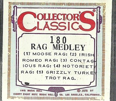 Raggy Rags Medley, QRS 31386 Piano Roll recut CC 180 Moose, Irish Romeo, more