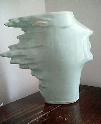True Vintage ( antique?) Vase Art Deco Nouveau. Androgynous Ceramic Figure Head