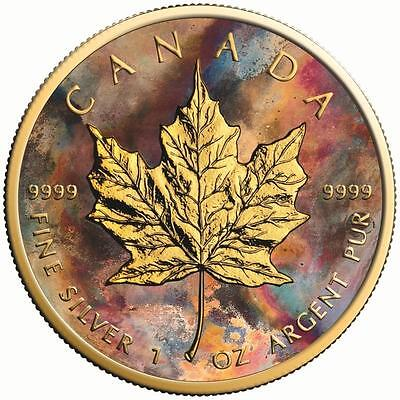 2017 1 Oz Silver Maple Leaf Aquarelle Coin.- 24K Gold Gilded With BOX AND COA