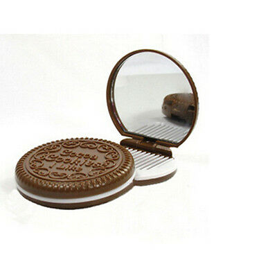 Mini Pocket Chocolate Cookie Compact Mirror + Comb Make Up Mirrors FTUK