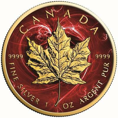 2017 1 Oz Silver Maple Leaf RED PASSION Coin.-With 24K Gold Gilded,BOX AND COA