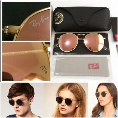 New Ray-Ban Unisex Round Metal Mirror, BluePinkYelow lens / Gold Frame, 50 mm