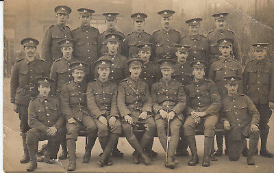 RP P/C GROUP PHOTO OF THE LINCOLNSHIRE REGIMENT c1914  CHUMS?  PALS?