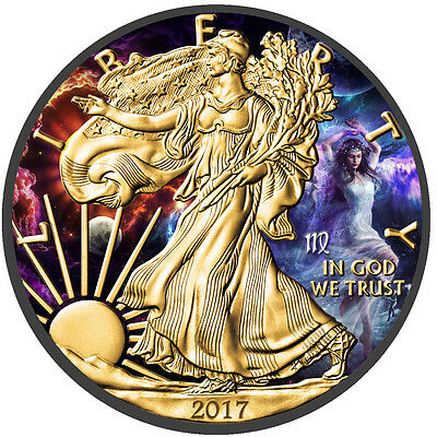 American Silver Eagle Zodiac Series Virgo Coin Colorized,Gold & Ruthenium plated