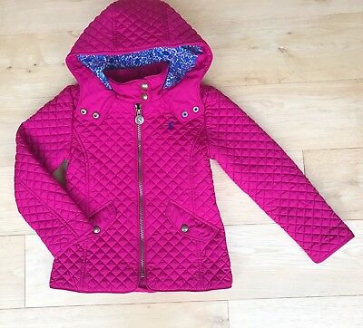Joules  *** 6Y Girls Joules Pink Quilted Coat Jacket Lined - Age 6 Years