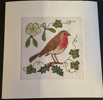 Completed Cross Stitch Extra Large Christmas Card - Robin