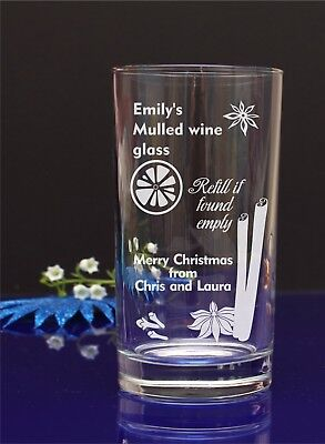 Personalised engraved Christmas Mulled Wine, Mixer, Pint, Hi-ball glass GIFT