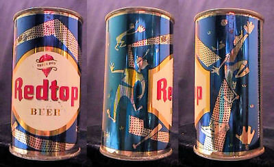 Redtop Extra Dry Beer  - Mid 1950's 12Oz Flat Top Set Can Blue - Baseball Theme