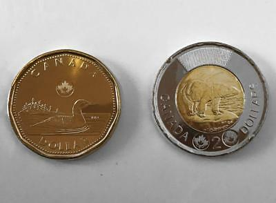 2013 CANADA 2X COINS - $1 DOLLAR LOONIE & $2 TOONIE UNC from Roll **SCARCE**