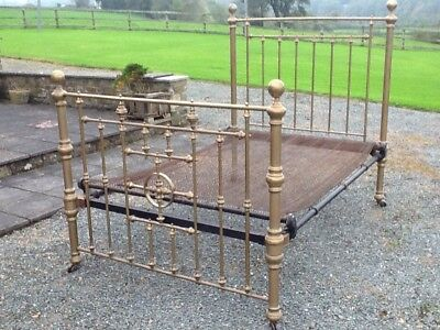 Antique Victorian Brass Double Bed C 1880