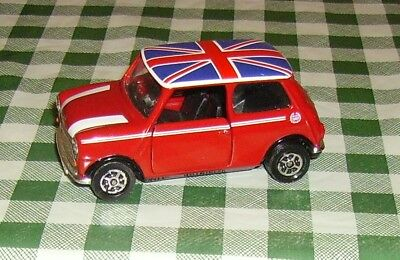 Unboxed Corgi Toys 04410 Flame Red Mini Cooper With Union Jack Flag On Roof