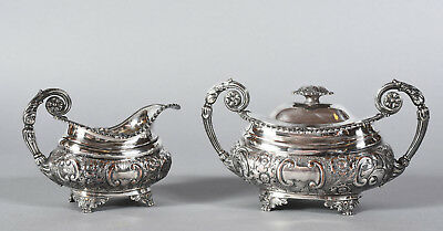 Antique English Ornate Repousse Silverplate Creamer & Covered Sugar Footed Set