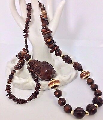 Vtg Chinese Asian Hand Carved Wood Buddha Tigers Eye Agate Beads Prayer Necklace
