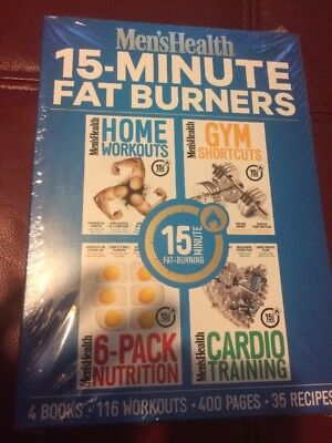 Men's Health 15 Minute Fat Burners, 4 Books, 116 Workouts, New