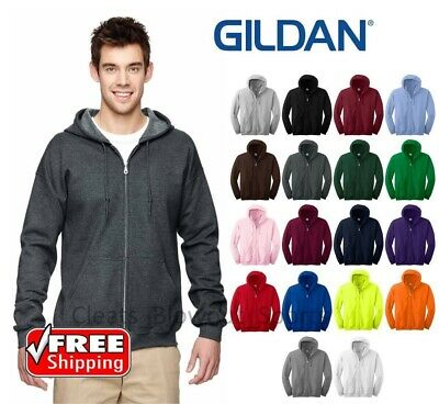 Gildan Zip Hoodie Heavy Blend Full Hooded Pocket Sweatshirt New Soft Mens 18600