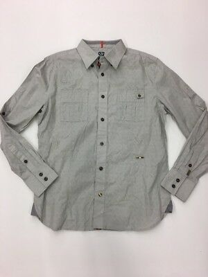 CAVI MEN'S Premium LONG SLEEVE SHIRT SIZE Large Rare Extremely Nice Light Gray