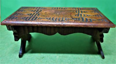 Antique Austrian Black Forest Carved Wood / Treen  Small FOLDING STOOL / TABLE