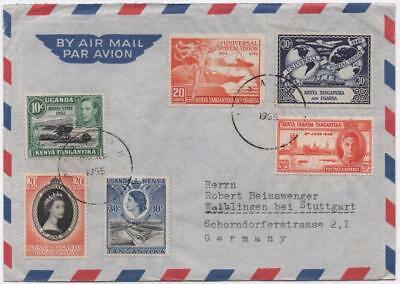K.U.T.: 1955 UPU Examples on Airmail Cover to Germany - With Cancels (11662)