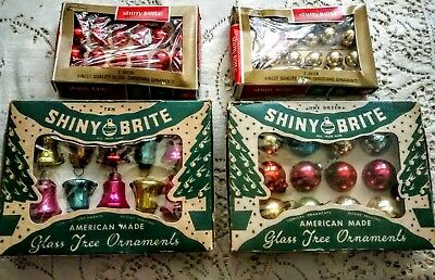 Vintage Shiny Brite 4 boxes Feather Tree Christmas Ornaments Bells & Round Small