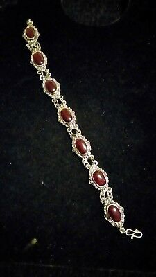 silver tone and red stone link bracelet