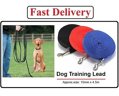 15ft Strong Long Dog Training Lead Rope Tracking Obedience Leash Large Webbing