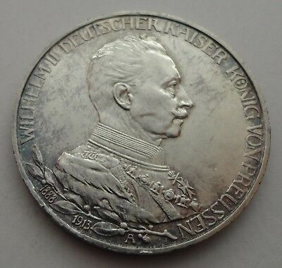 GERMANY German empire PRUSSIA 1913 WILHELM II 3 MARK SILVER COIN