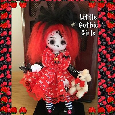 """Jesse the 8"""" Gothic hand made rag doll by Little Gothic Girls"""