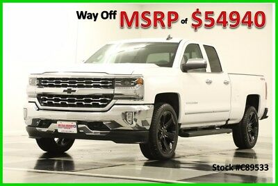 2018 Chevrolet Silverado 1500 MSRP$54940 4X4 LTZ Leather GPS White Double 4WD New Heated Cooled Black Leather 22 In Rims Navigation Camera 17 16 2017 18 Ext