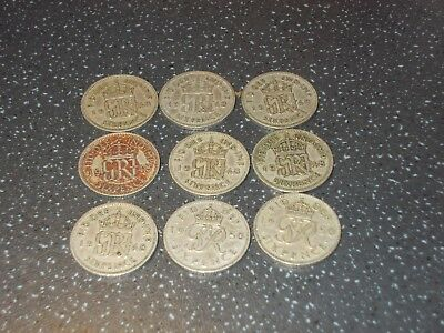 9 sixpence pieces George VI 2 quite rare