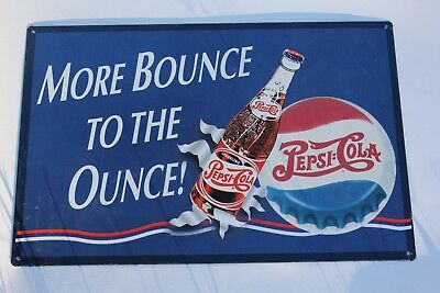 Drink Pepsi Cola More Bounce To The Ounce Metal Sign 17 Inch Width