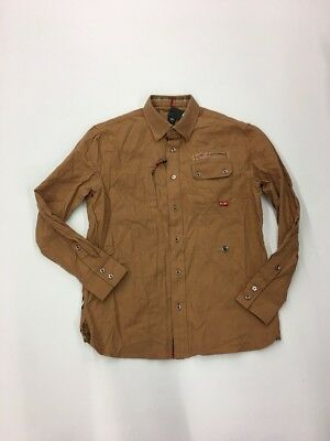CAVI MEN'S Premium LONG SLEEVE SHIRT SIZE Large Rare Extremely Nice Khaki.