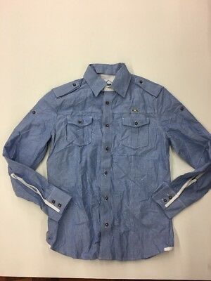 CAVI MEN'S Premium LONG SLEEVE SHIRT SIZE Large Rare Extremely Nice Light Blue