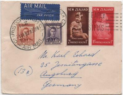 NEW ZEALAND: 1952 Examples on Airmail Cover to Germany - Christchurch (11663)