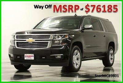 2017 Chevrolet Suburban MSRP$76185 4X4 Premier DVD Sunroof GPS Black 4WD New Navigation Heated Cooled Leather Seats Captains SUV 16 2016 17 Bose Camera