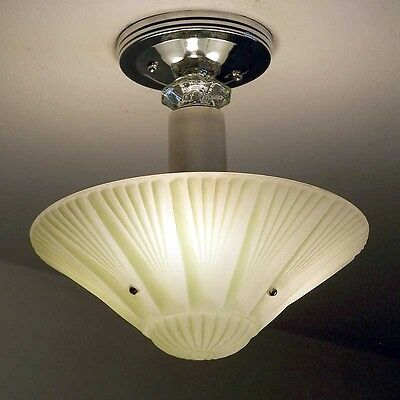 162b Vintage aRT DEco CEILING LIGHT chandelier fixture glass jadeite 3 Light