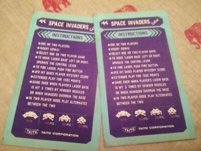 Taito Space Invaders Color - Cocktail Instruction cards