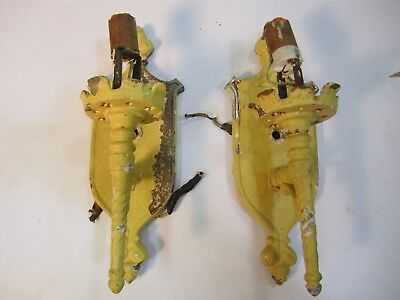 "Antique Vtg Pair Painted Metal Wall Sconce""Torch""Lights Gothic Tudor For Repair"