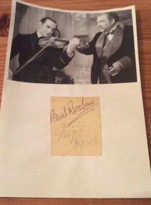 Basil Rathbone Nigel Bruce   film movie Sherlock Holmes signatures
