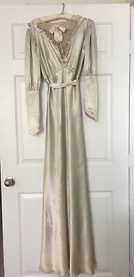 Antique 1930's Wedding Dress, Satin, Lace Yoke, Lots of Covered Buttons