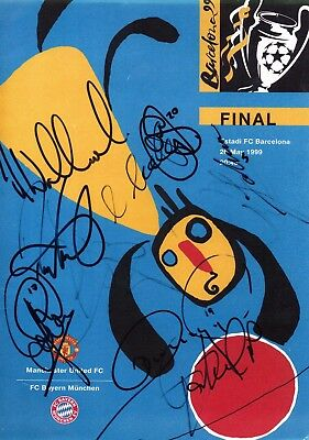 Manchester United v Bayern Munich - CL Final 1999 - Single Sheet Signed