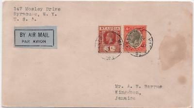 ST.LUCIA: 1930 Examples on Airmail Cover to Jamaica - Kingston Cancels (11630)
