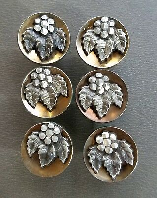#5L Lot Match Set 6 Antique Pewter Flower w/Leaves in Colored Steel Cup Buttons