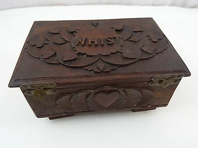 Antique Carved Wooden Whist Box Contents Goodall Playing Cards Royal Bezique