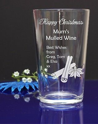 Personalised with name engraved Christmas Mulled Wine, Mixer, Pint,Hi-ball glass