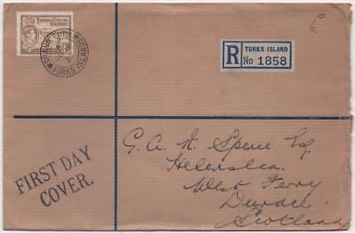 TURKS & CAICOS: 1938 1/- Example on Registered First Day Cover to Dundee (11681)