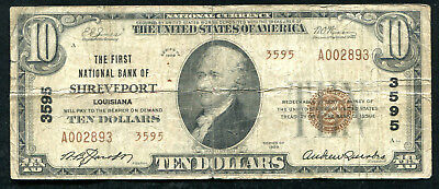 1929 $10 Tyii The First Nb Of Shreveport, La National Currency Ch. #3595