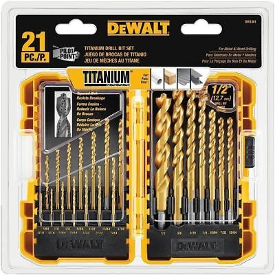 DEWALT DW1361 Titanium Pilot Point Drill Bit Set, 21Piece